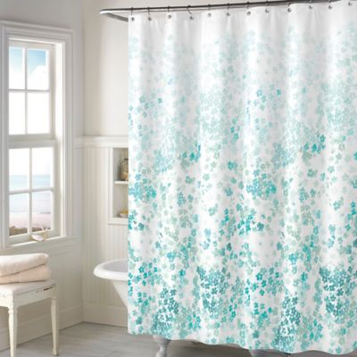 Kimberly Floral Shower Curtain in Teal