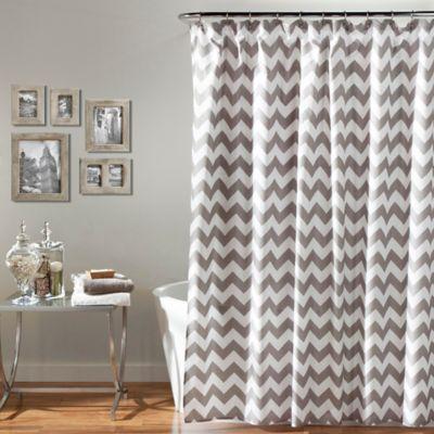 Chevron Shower Curtain in Grey/White