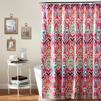 Jaipur Ikat Shower Curtain in Fuchsia
