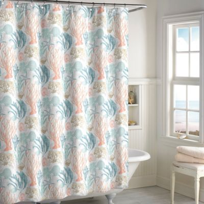 Shore Thing Shower Curtain in Coral