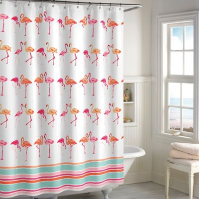 Orange White Cotton Shower Curtain