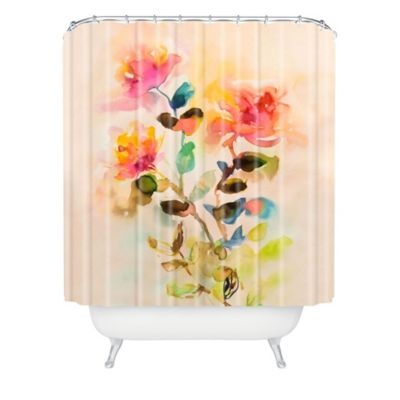 DENY Designs Marta Spendowska Watercolor Vintage Flowers Shower Curtain in Pink