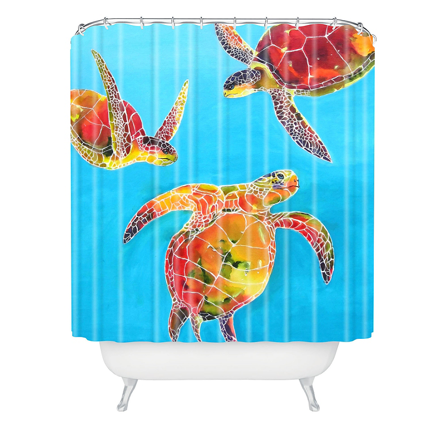 DENY Designs Clara Nilles Tie-Dye Sea Turtle Shower Curtain in Blue