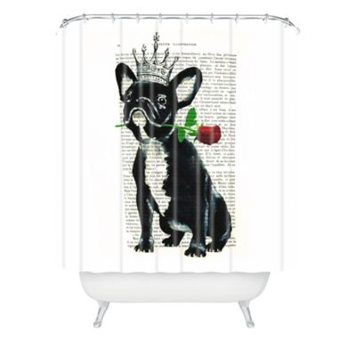 DENY Designs Coco de Paris Frenchie with Rose Shower Curtain in Black
