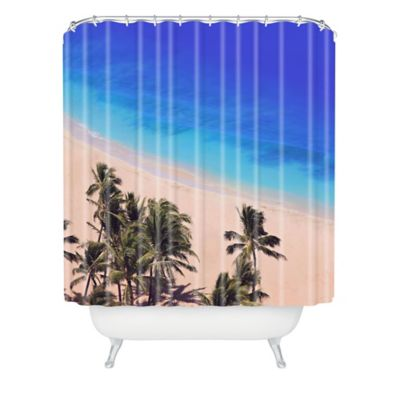 DENY Designs Leah Flores Hawaii Beach Shower Curtain in Blue