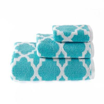 Riviera Jacquard Hand Towel in Aqua
