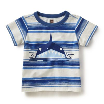 Tea Collection Size 3-6M Squalo Shark Shirt in White/Blue