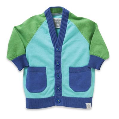 Rockin' Baby Newborn Out of Africa Color Block Cardigan in Blue/Green