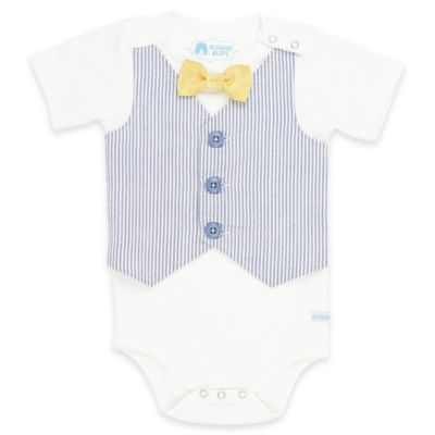 Ruffle Butts® Rugged Butts® Size 0-3M Summer Seersucker Vest Bodysuit in White