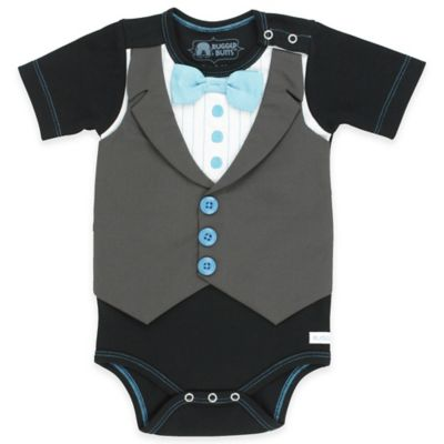 Ruffle Butts® Rugged Butts® Tuxedo Bodysuit in Black