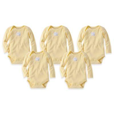Burt's Bees Baby® Size 3M 5-Pack Organic Cotton Long Sleeve Bodysuit in Sunshine
