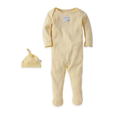 Burt's Bees Baby® Size 3M 2-Piece Organic Cotton Footie and Topknot Hat Set in Sunshine