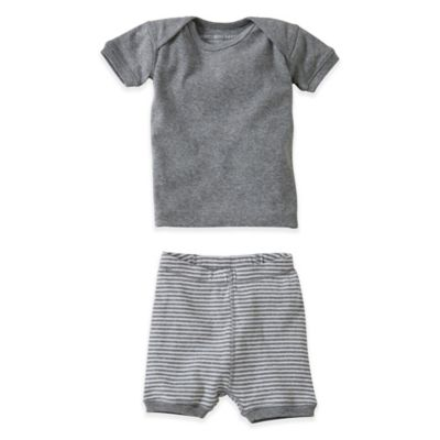 Burt's Bees Baby® Size 18M 2-Piece Organic T-Shirt and Striped Short Set in Grey