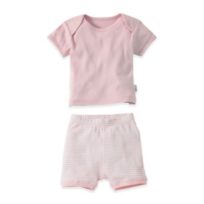 Burt's Bees Baby® Size 18M 2-Piece Organic T-Shirt and Striped Short Set in Pink