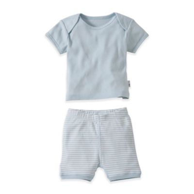 Burt's Bees Baby® Size 18M 2-Piece Organic T-Shirt and Striped Short Set in Blue