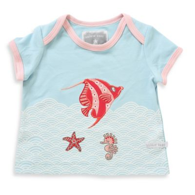 Rockin' Baby Size 3-6M Angel Fish Applique Short Sleeve T-Shirt in Light Blue