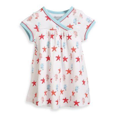 Rockin' Baby Newborn Seahorse and Starfish Print Short Sleeve Wrap Dress in White