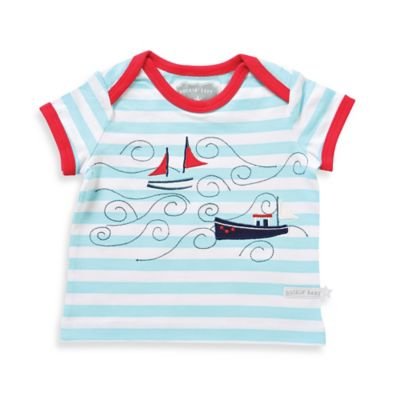 Rockin' Baby Newborn Boat Applique Striped Short Sleeve T-Shirt in Blue/Red