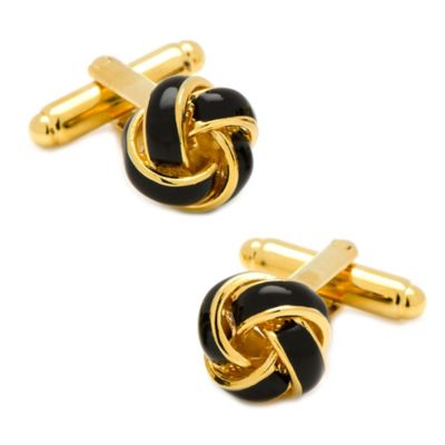 Gold-Plated Black Love Knot Cufflinks