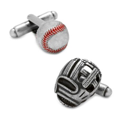 Antique Silver Red-Stitched Baseball Cufflinks