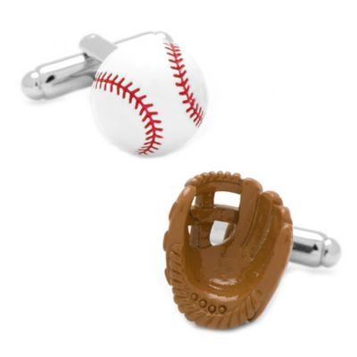 Silver-Plated Baseball and Glove Cufflinks
