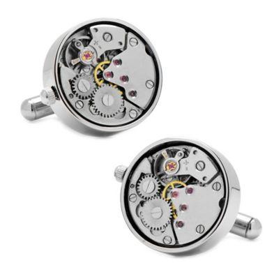 Silver-plated Working Watch Movement Steampunk Cufflinks
