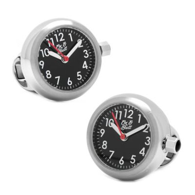 Ox & Bull Black Stainless Steel Red Accent Watch Cufflinks