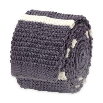 Ox & Bull Striped Knit Tie in Grey