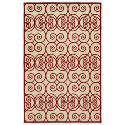 Kaleen Five Seasons Scrolls 8-Foot 8-Inch x 12-Foot Indoor/Outdoor Area Rug in Red