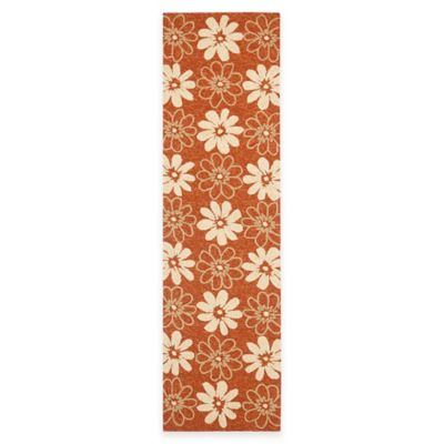 Safavieh Four Seasons Daisy 2-Foot 3-Inch x 8-Foot Indoor/Outdoor Runner in Rust/Ivory