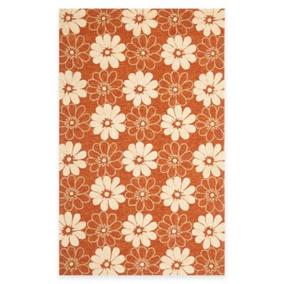 Safavieh Four Seasons Daisy 2-Foot 3-Inch x 8-Foot Indoor/Outdoor Runner in Rust/Ivory