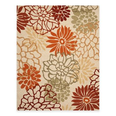 Safavieh Four Seasons Burst Floral 5-Foot x 8-Foot Indoor/Outdoor Rug in Beige/Multi