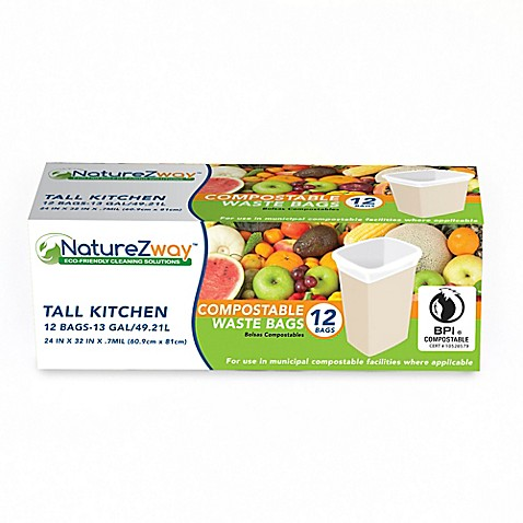 Buy Naturezway 12 Pack 13 Gallon Tall Kitchen Compostable Waste Bags In White From Bed Bath
