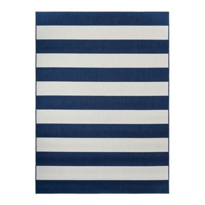 Miami Stripe Indoor/Outdoor 8-Foot x 10-Foot Area Rug in Navy/White