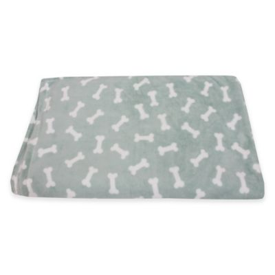 Bosco Bones Printed Fleece Pet Throw in Charcoal/White