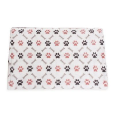 Paws and Cross Bones Fleece Pet Throw in White/Pink