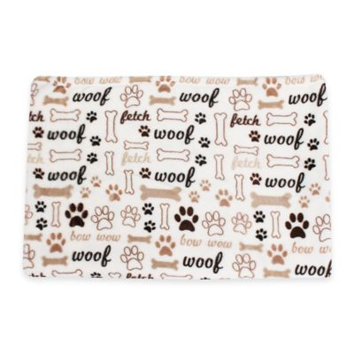Dogs Life Printed Fleece Pet Throw in White/Grey