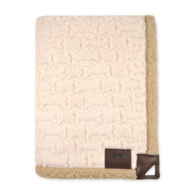 Tall Tails ® Micro Sherpa Embossed Bone Dog Blanket in Creme