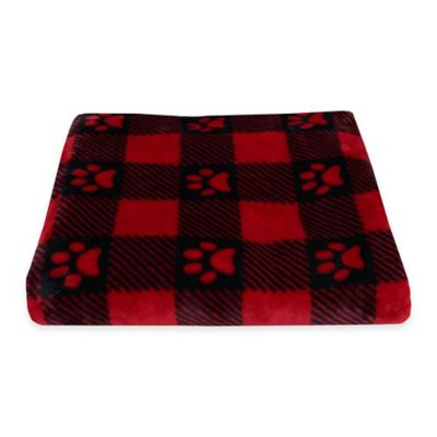 Buffalo Check Paw Prints Fleece Pet Throw in Red