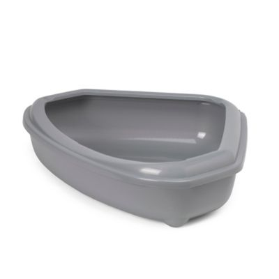 Corner Litter Pan with Rim in Grey