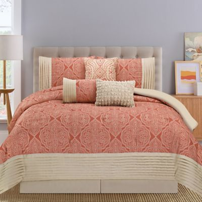 Montpellier 7-Piece Queen Comforter Set in Coral/Tan