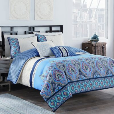 Malia 5-Piece King Reversible Comforter Set in Blue/Ivory