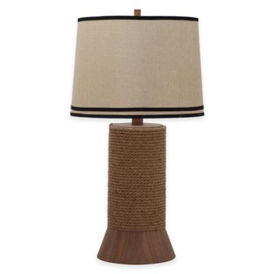 Safavieh Alex Bay 1-Light Nautical Hemp Table Lamp in Brown with Linen Shade