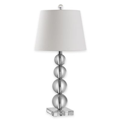Safavieh Millie 1-Light Stacked Crystal Ball Table Lamp in Clear with Cotton Shade
