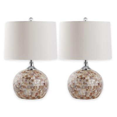 Safavieh Nikki 1-Light Mosaic Shell Table Lamps with Cotton Shade (Set of 2)