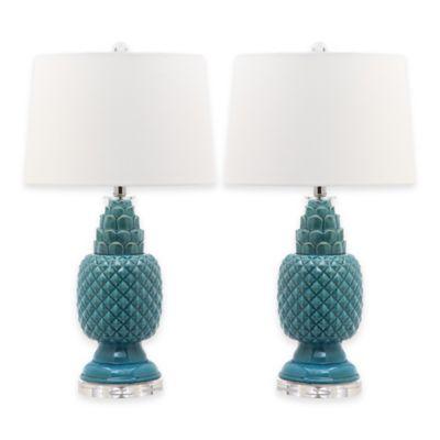 Safavieh Blakely Chevron Stripe 1-Light Table Lamps in Blue (Set of 2)