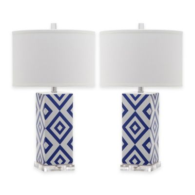 Safavieh Diamonds 1-Light Table Lamps in Grey with Cotton Shade (Set of 2)