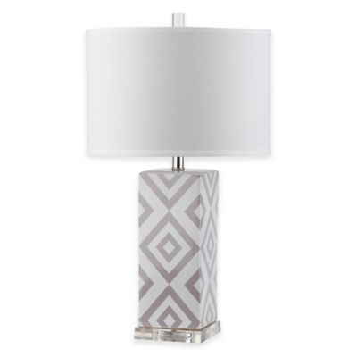 Safavieh Diamonds 1-Light Table Lamp in Grey with Cotton Shade