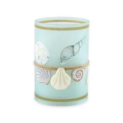 Loft Living LED Flameless Glass-Filled Hurricane Candle in Teal