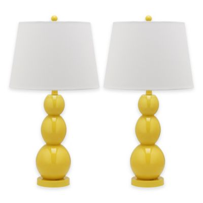 Safavieh Jayne 1-Light Glass Sphere Table Lamp in Yellow with Cotton Shade (Set of 2)